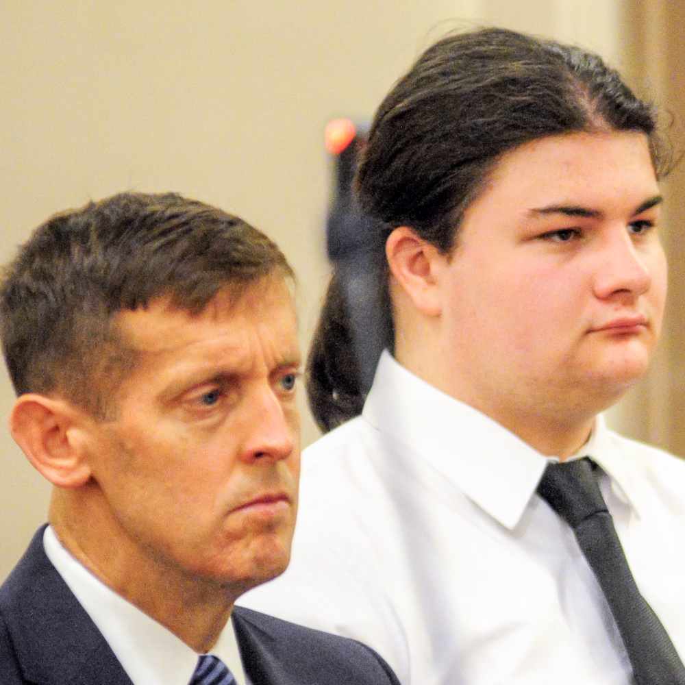 Attorney Walter McKee, left, next to his client, Andrew Balcer, 19, of Winthrop, during a hearing after he allegedly killed both of his parents in October 2016. A grand jury has now indicted Balcer on murder charges.