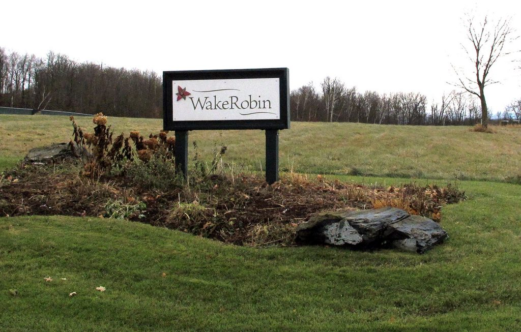 A sign marks the entrance to the Wake Robin retirement community in Shelburne, Vermont, where Vermont State Police and the FBI said they were investigating the source of the deadly toxin ricin that was found there.