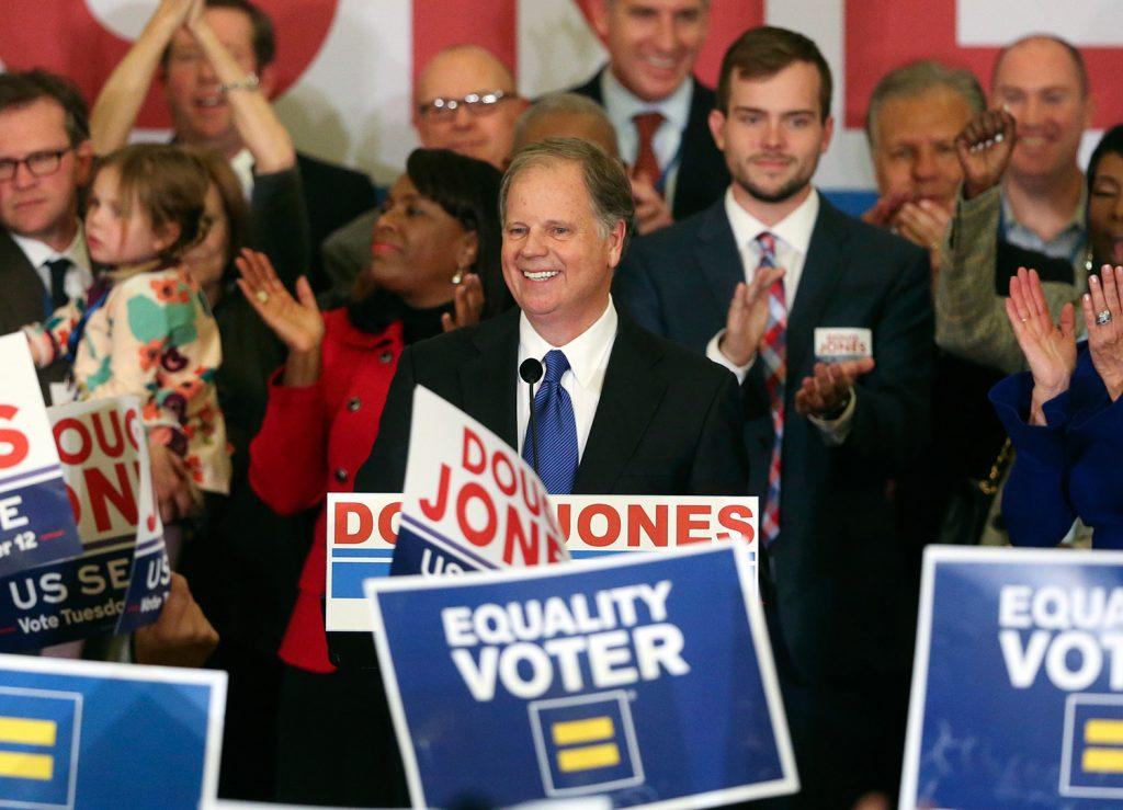 Democrat Doug Jones speaks to supporters Tuesday night in Birmingham, Ala., during a celebration of his victory in Alabama's special Senate election.