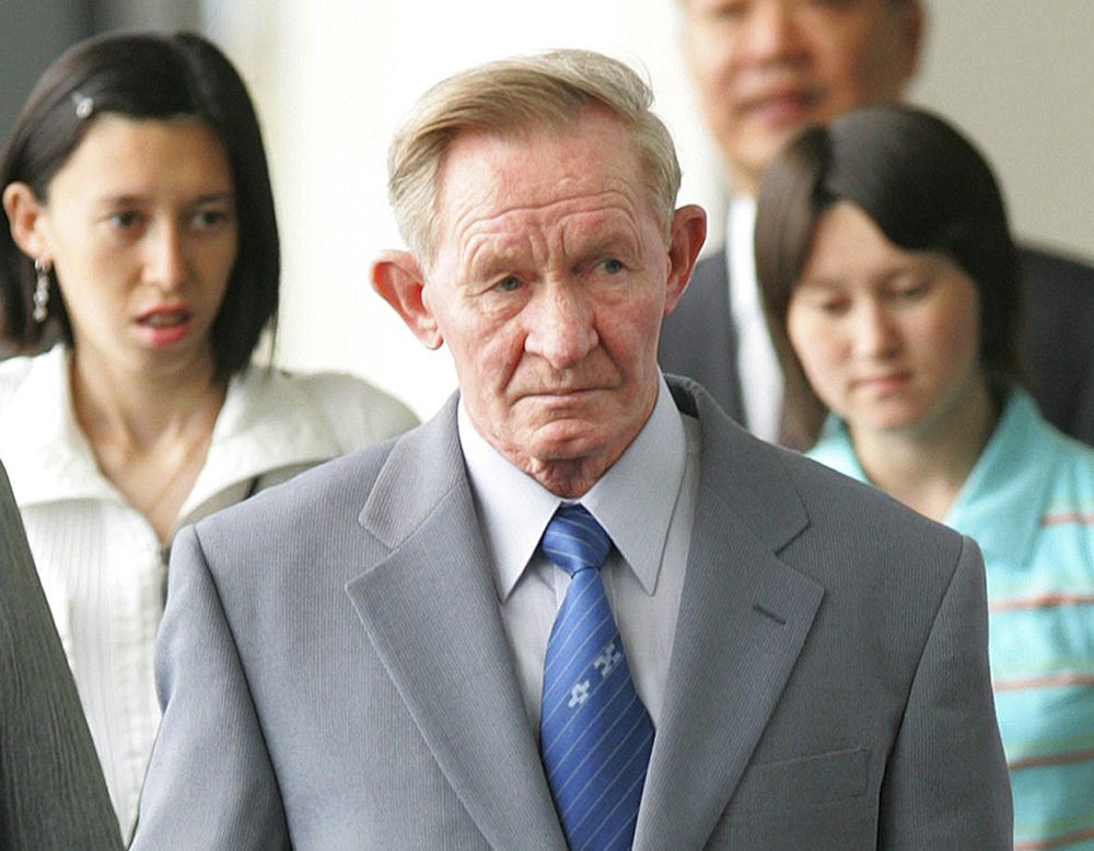 Former U.S. Army deserter Charles Jenkins, together with his daughters Mika, left, and Brinda at Narita International Airport on June 14, 2005. After being freed from North Korea in 2002, Jenkins, who had married a Japanese abductee,  lived in Japan.