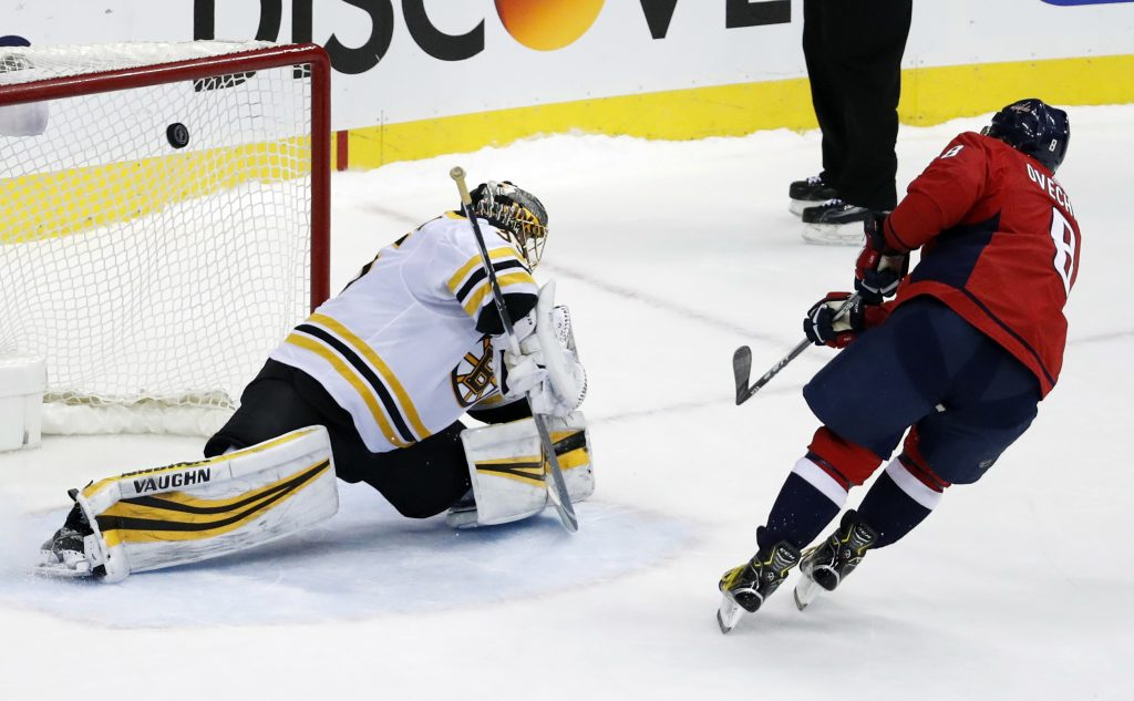 Alex Ovechkin of the Caps snaps a shot past Bruins goalie Anton Khudobin for the only goal of the shootout Thursday night in Washington.