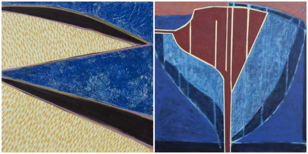 "Left: ""Island Geometry: Sand Beach No. 7,"" oil and encaustic on panel, 2017, 16 by 16 inches. Right: ""Sea Geometry No. 210,"" acrylic and oil on canvas, 2017, 24 by 24 inches."