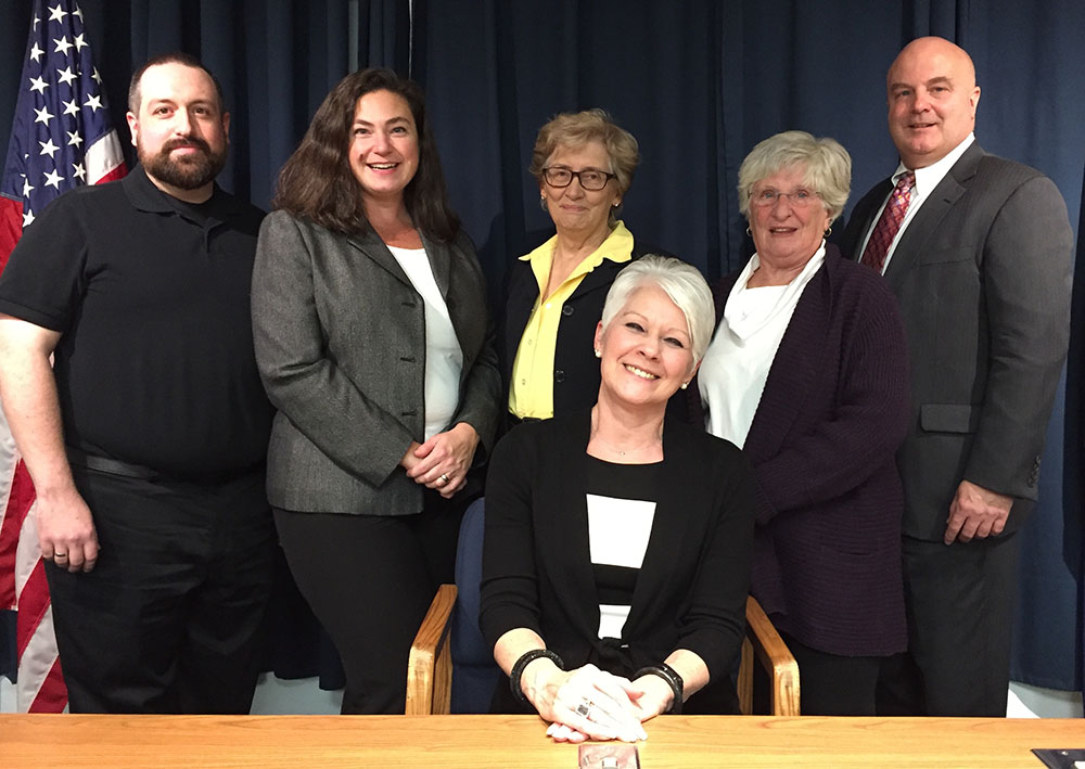 South Portland's leadership for 2018: Newly elected Mayor Linda Cohen, seated, with councilors Adrian Dowling, Kate Lewis, Maxine Beecher, Susan Henderson and Claude Morgan. Councilor Eben Rose was absent from inaugural ceremonies held Monday at City Hall for council and school board members.
