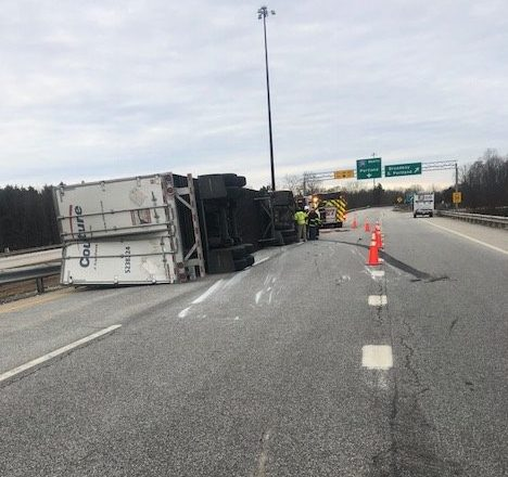 This tractor-trailer rollover led to the closure of the Scarborough Connector, which is Route 701, from Route 1 in Scarborough to Interstate 295 North in South Portland, on Friday.