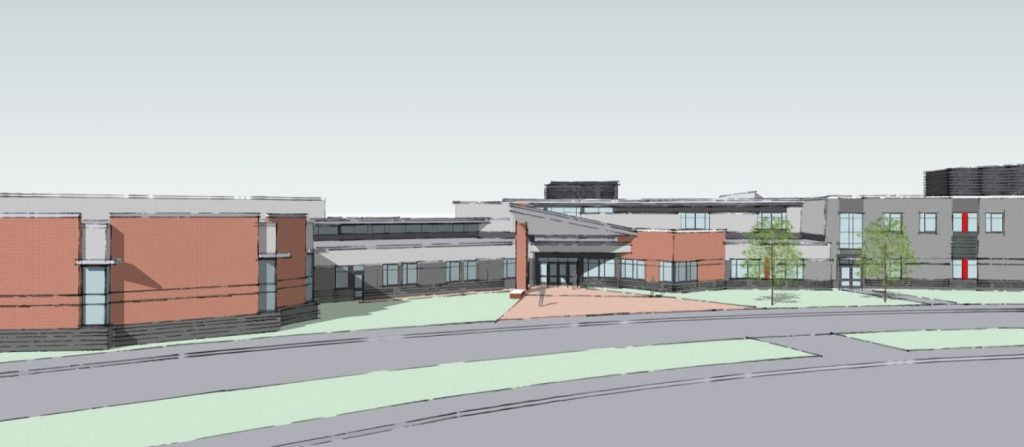 Architects concept rendering of the main entrance of the new Mt. Ararat High School.