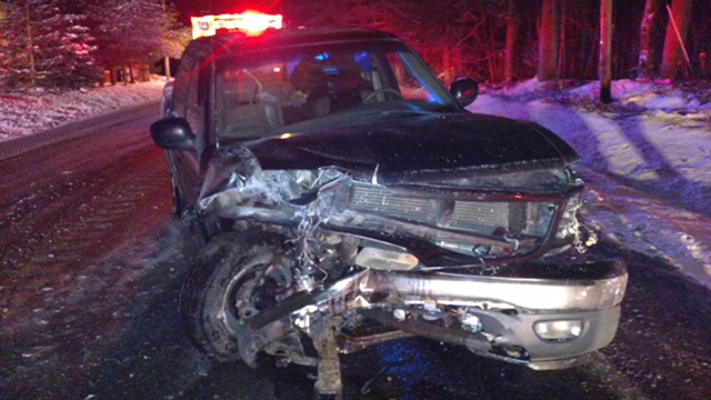 Brad Provencher's pickup truck after it  crossed the centerline and struck a Mercedes-Benz sedan on the Lewiston Road.