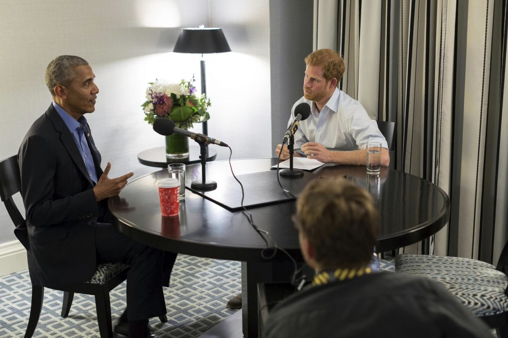 Britain's Prince Harry, right, interviews Barack Obama as part of his guest editorship of BBC Radio 4's Today program which is to be broadcast on the December 27.