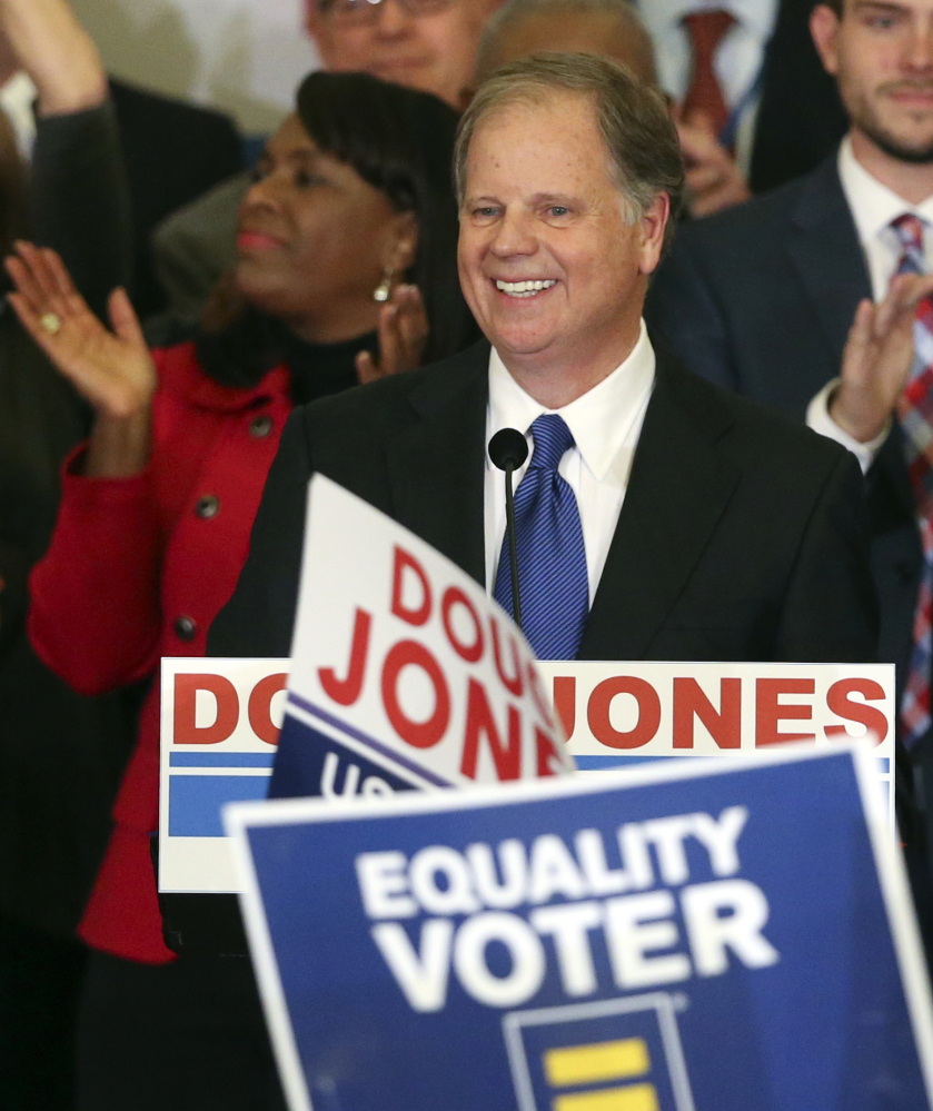Joining Democrats in Congress this term will be Minnesota Lt. Gov. Tina Smith and political newcomer Doug Jones of Alabama. Smith replaces Democrat Al Franken who resigned on Tuesday, Jones defeated Republican Roy Moore in a special election last month.