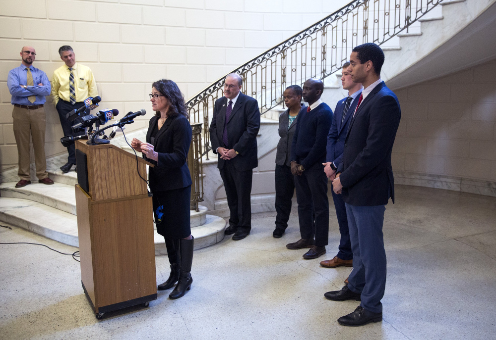 PORTLAND, ME - FEBRUARY 22: Portland City Councilor Belinda Ray spoke at a press conference at City Hall where Portland City Council discussed their support for body cameras for police officers and their trust in the Police Chief. (