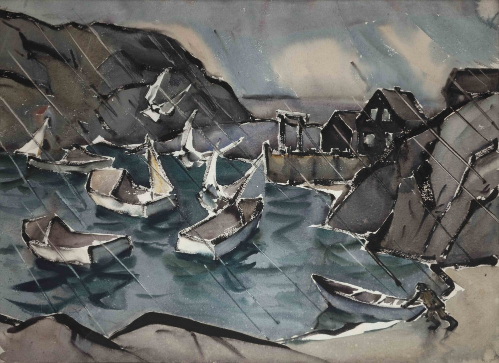 """Sou'westerly Monhegan Harbor,"" watercolor on paper by James Fitzgerald (James Fitzgerald Legacy/Monhegan Museum). Fitzgerald, below right, came to Monhegan Island in the 1940s and stayed until his death in 1971."