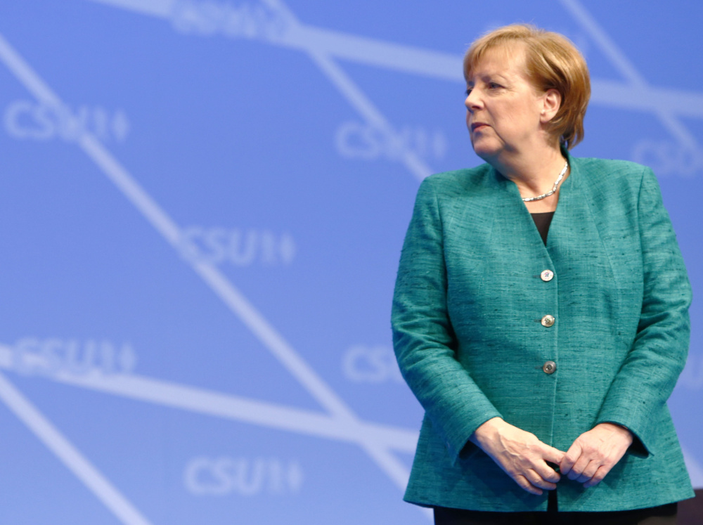 German Chancellor Angela Merkel appears at the Christian Social Union party congress in Nuremberg, Germany, in December. Her popularity appears to be waning.