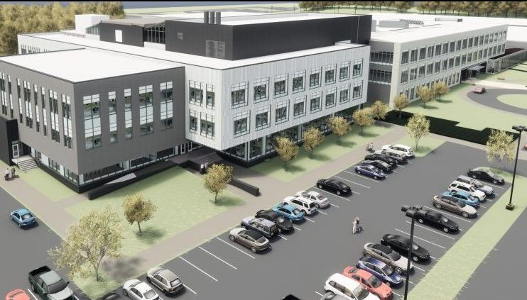 An early concept rendering shows the headquarters expansion planned for the Idexx campus in Westbrook.