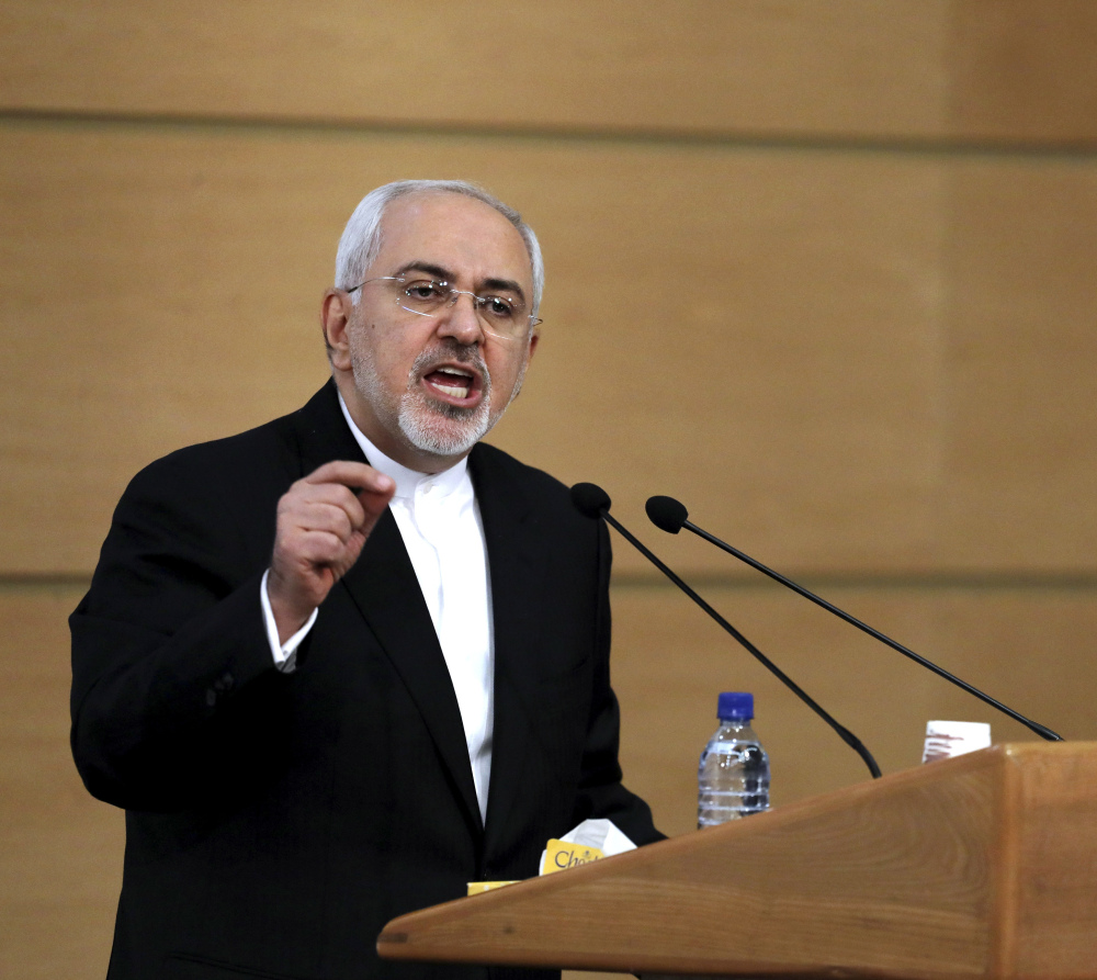Iran's foreign minister, Mohammad Javad Zarif, speaks during the Tehran Security Conference in Tehran, Iran, on Monday. Associated Press/Ebrahim Noroozi