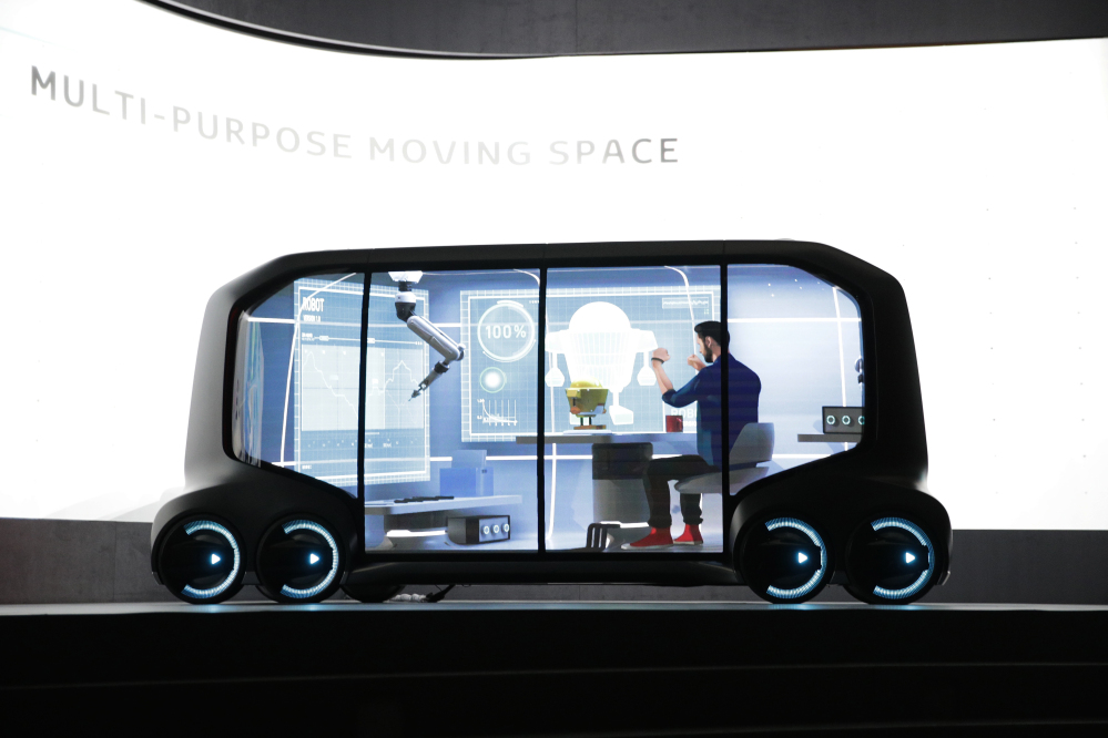 Toyota's e-Pallete concept is unveiled during a news conference at CES International on Monday in Las Vegas. AP Photo/Jae C. Hong