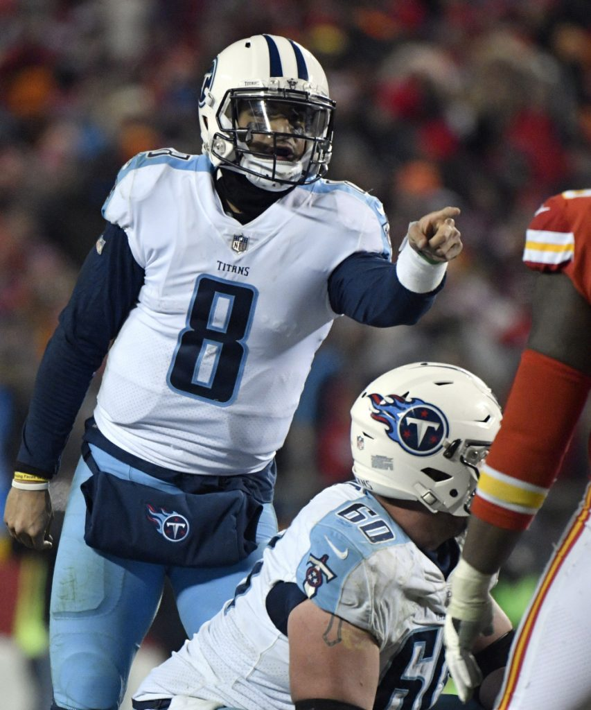 Tennessee quarterback demonstrated his special blend of passing and running skill in a comeback victory at Kansas City in a wild-card playoff game last Sunday – a performance that included catching his own deflected pass for a touchdown.