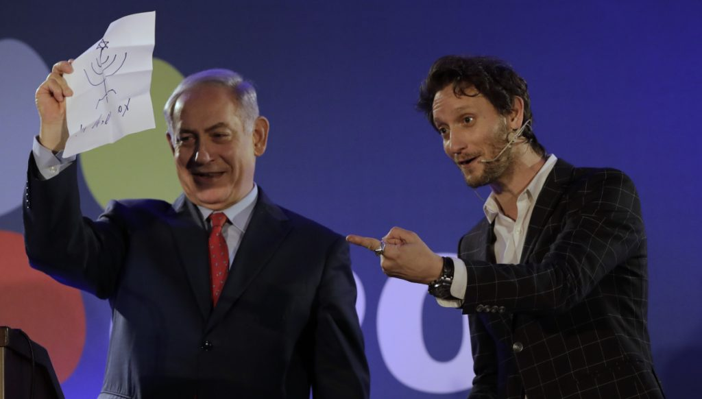 Israeli mentalist Lior Suchard, right, came up short while trying to read Israeli Prime Minister Benjamin Netanyahu's mind on Wednesday night.