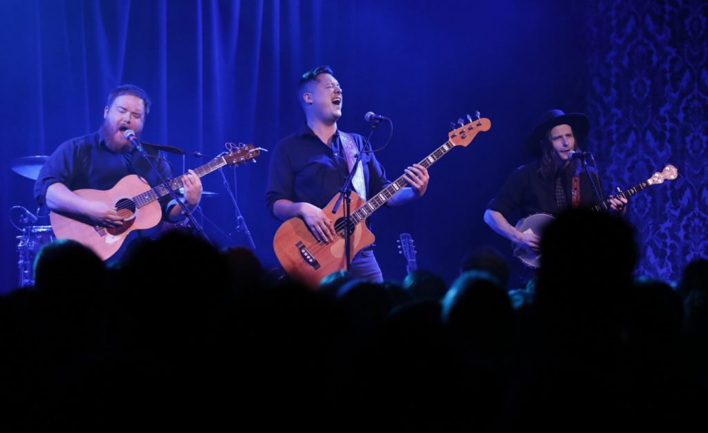 PORTLAND, ME - DECEMBER 28: The Ghost of Paul Revere's Griffin Sherry, left, Sean McCarthy, center, and Max Davis, right, performs Saturday, Dec. 30, 2017 at Port City Music Hall in Portland, Maine.  (Staff Photo by Joel Page/Staff Photographer)