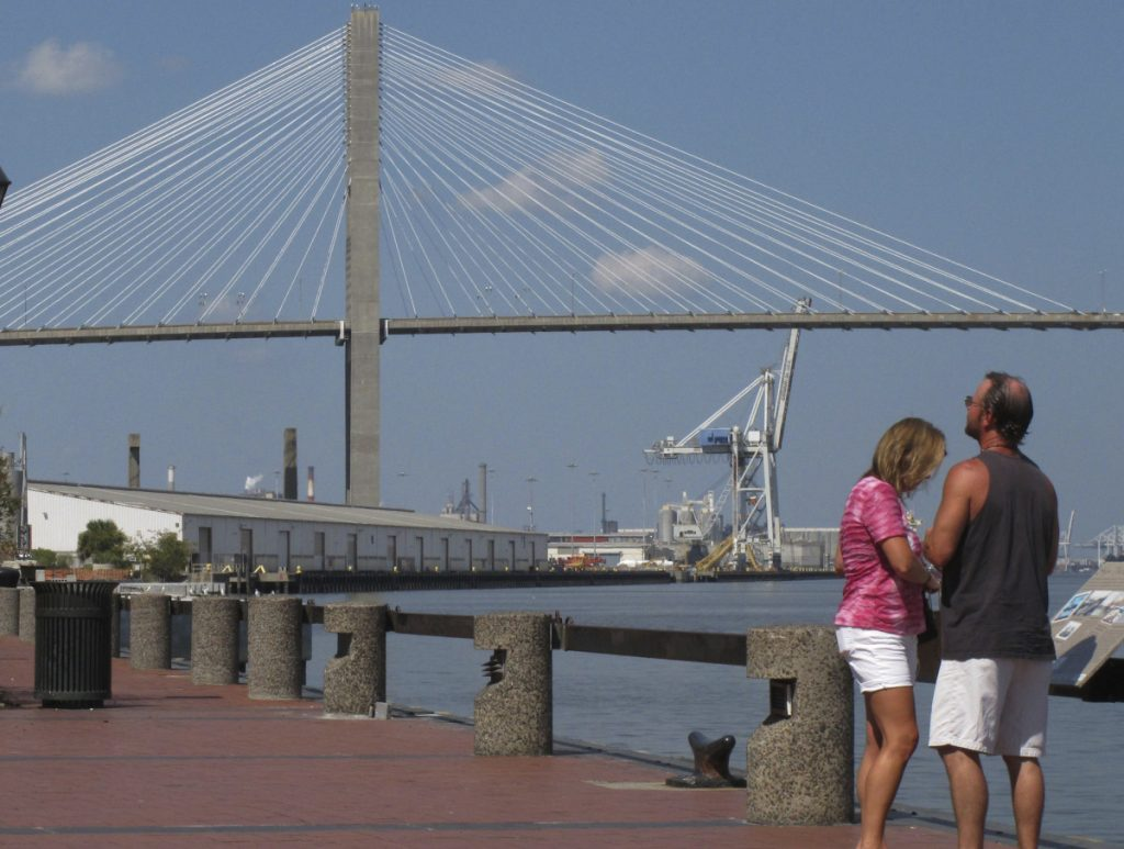 The Eugene Talmadge Memorial Bridge spans the Savannah River in Savannah, Ga. A group of Georgia Girl Scouts is lobbying to have the bridge named after Juliette Gordon Low, who founded the Girl Scouts in the city more than a century ago.