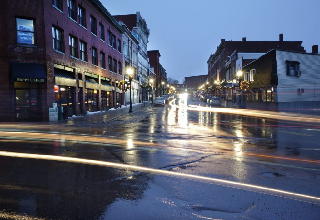 The headlights of cars streak in a long exposure photograph taken this month in Biddeford. The Biddeford City Council last week unanimously approved a six-month moratorium on marijuana businesses while the Legislature works on setting regulations.