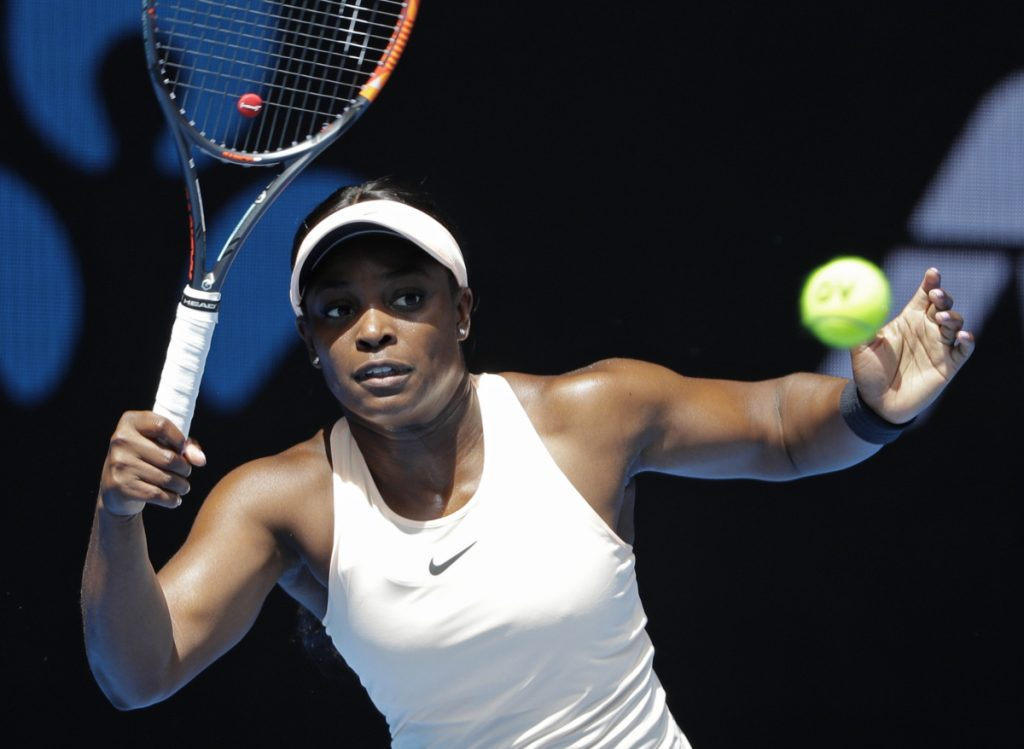 Sloane Stephens of the U.S. makes a return to Zhang Shuai of China during their first-round match Monday at the Australian Open. Zhang won, 2-6, 7-6 (2), 6-2.