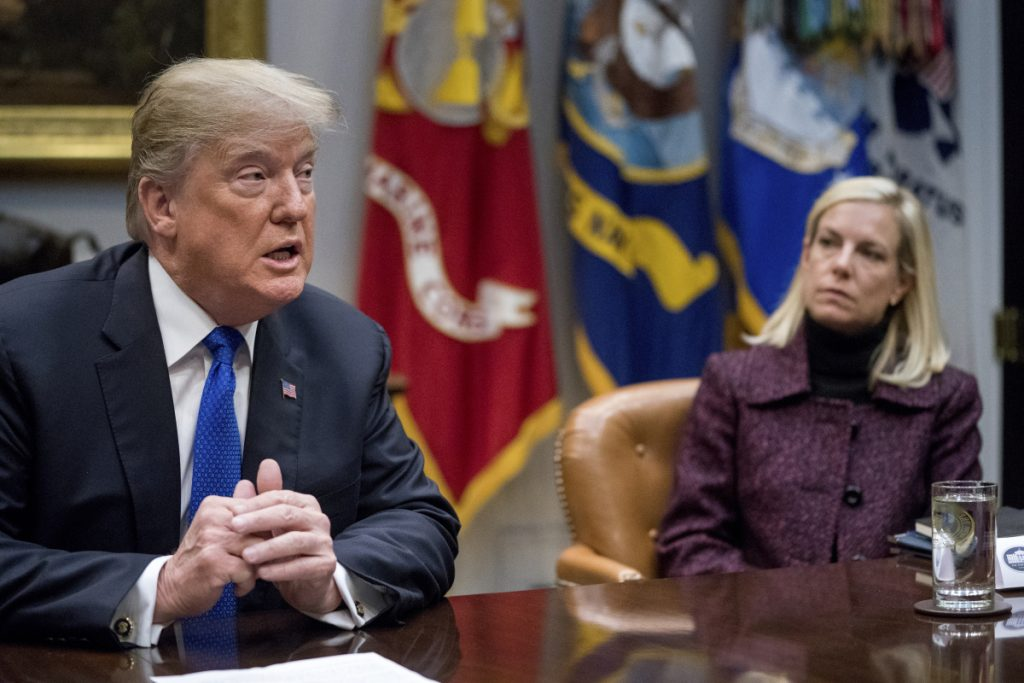 "President Trump is shown with Secretary of Homeland Security Kirstjen Nielsen, right, during a meeting Jan. 4 with Republican senators on immigration in the Roosevelt Room at the White House. When asked Tuesday whether Nielsen heard Trump disparage Haiti, El Salvador and African nations using a vulgarity, she replied, ""I did not hear that word used."""