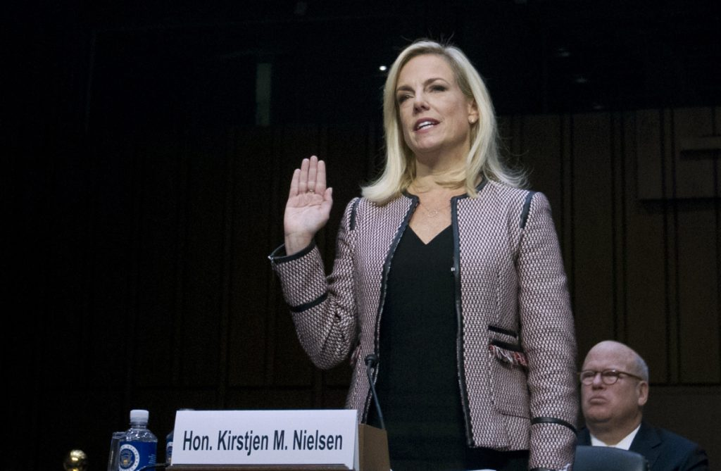 Homeland Security Secretary Kirstjen Nielsen appears before the Senate Judiciary Committee on Tuesday. Nielsen said she did not hear Trump use a vulgarity during a White House meeting, but