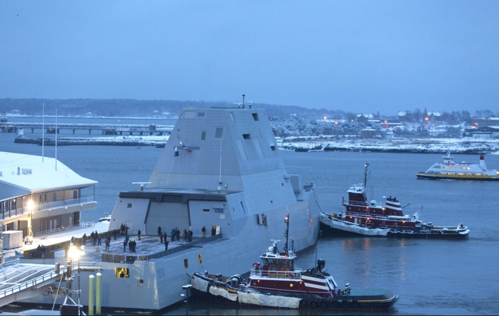 The future USS Michael Monsoor docks in Portland Harbor on Wednesday evening.