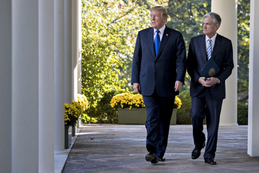 President Trump and Jerome Powell walk out to an announcement of his nomination for Federal Reserve chairman Nov. 2 in the Rose Garden of the White House.