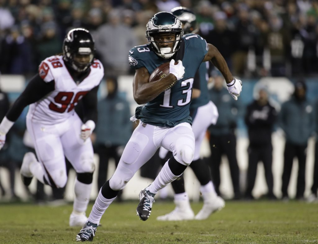 Wide receiver Nelson Agholor and the Eagles like to play an aggressive style of football and take chances. It has worked well this season with Philadelphia one win away from a trip to the Super Bowl.