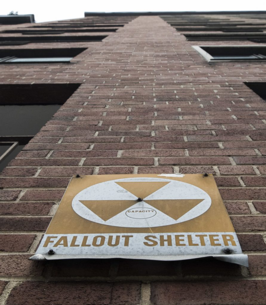 A fallout shelter sign on a building on East 9th Street in New York. Shelters are not seen as useful today in part because large superpower nations are less likely to attack.