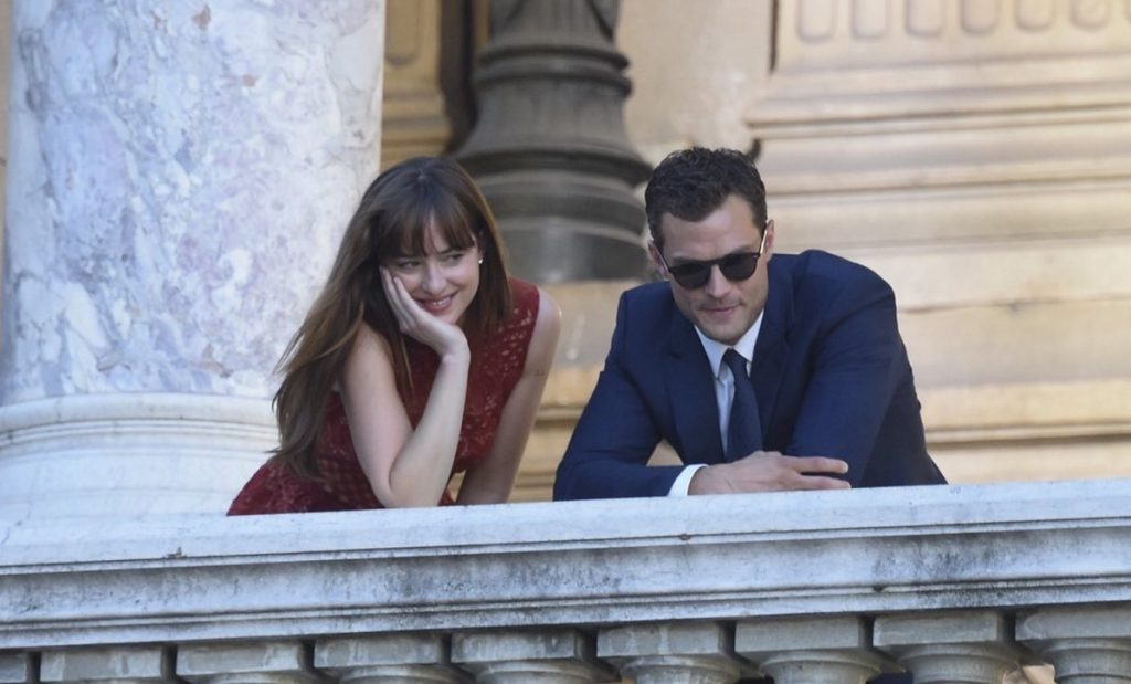 "Dakota Johnson and Jamie Dornan in ""Fifty Shades Freed,"" opening in February."