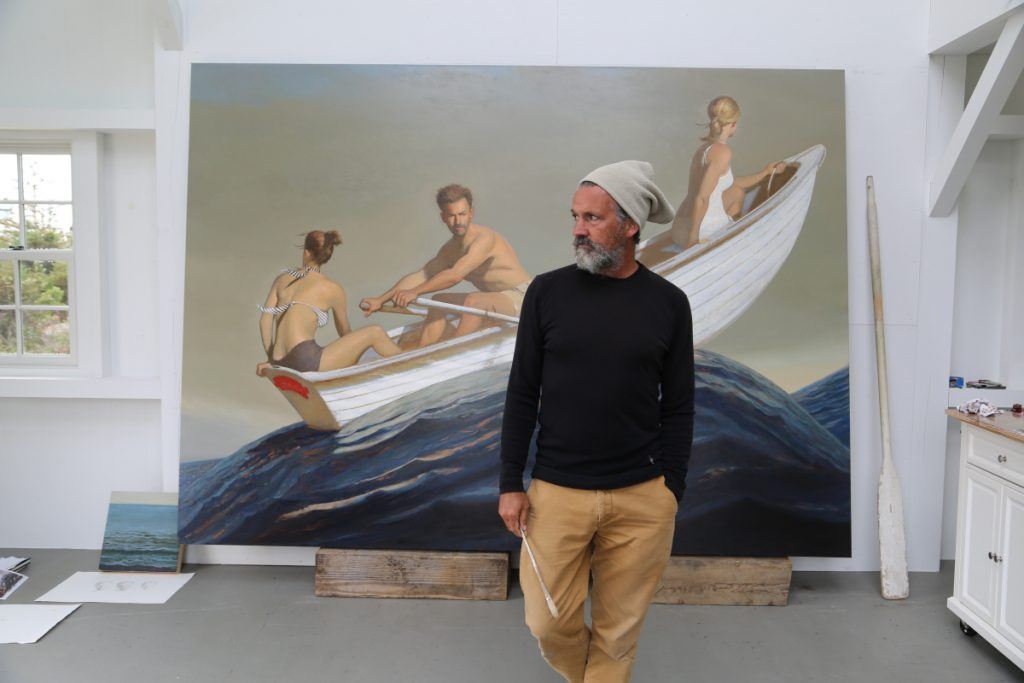 Bo Bartlett in his studio on Wheaton Island, just off Matinicus, about 20 miles from the Maine coast. Bartlett divides his time between Maine and his hometown of Columbus, Georgia.