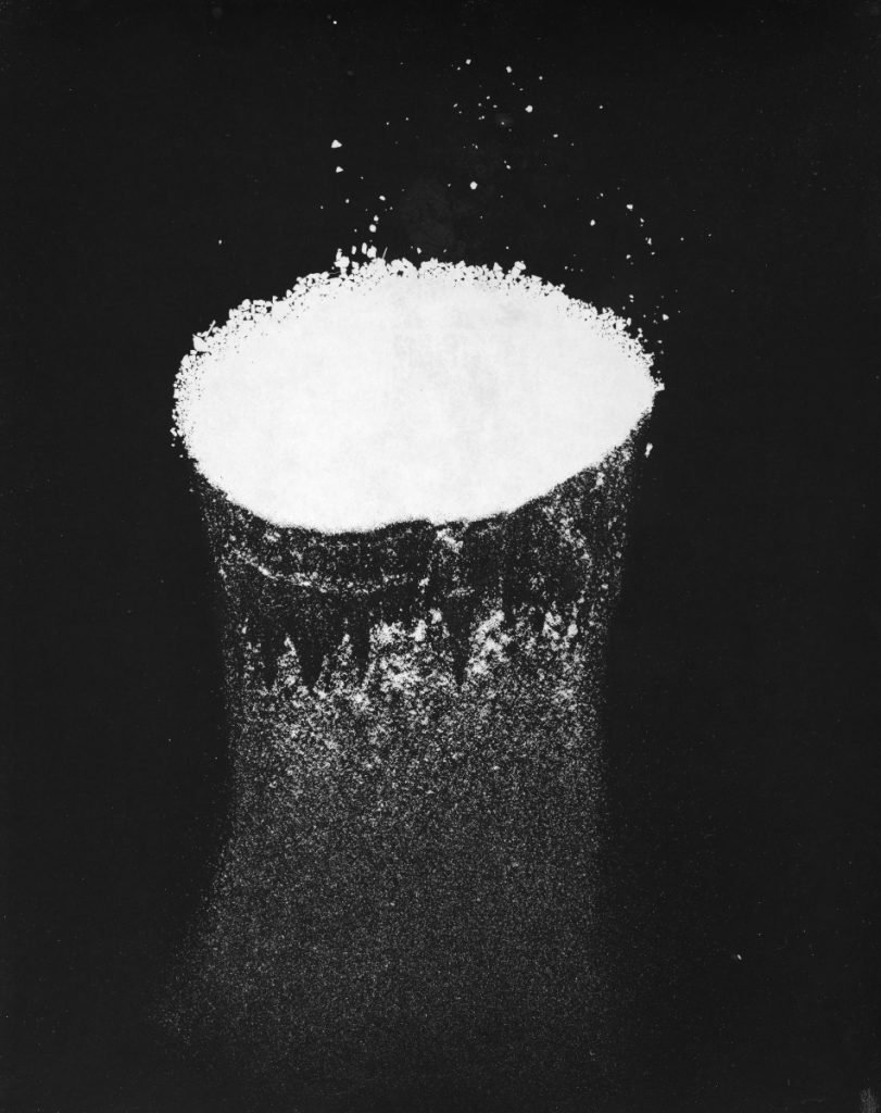 """Coal, Subterranean #10,"" gelatin silver print, photogram created from coal dust, 8 by 10 inches."