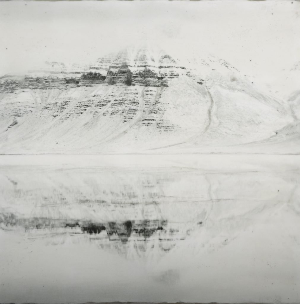 """Coraholmen, Reflected #2,"" encaustic, photograph with beeswax, oil paint, metal dust, silver leaf, coal dust, 36 by 36 inches."