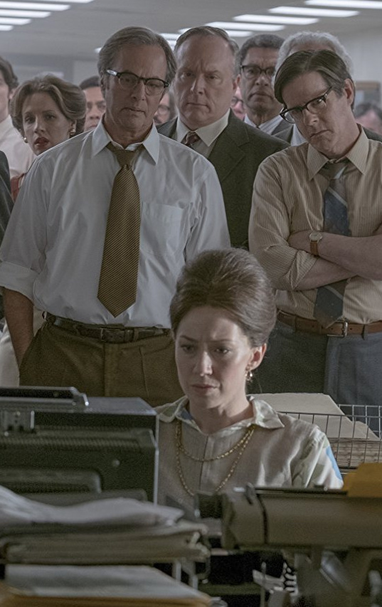 "Carrie Coon as Washington Post editorial page editor Meg Greenfield in ""The Post."""