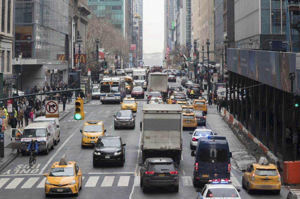 Traffic makes it's way across 42nd Street in New York City earlier in January.