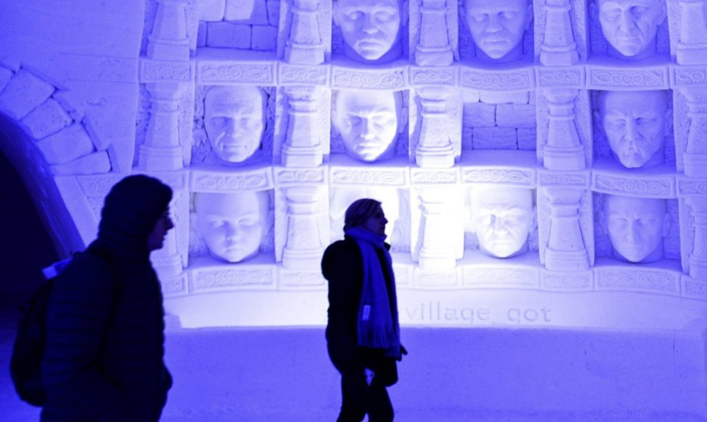 "Visitors walk inside a ""Game of Thrones""-themed ice hotel in Kittila in Finnish Lapland last Sunday."