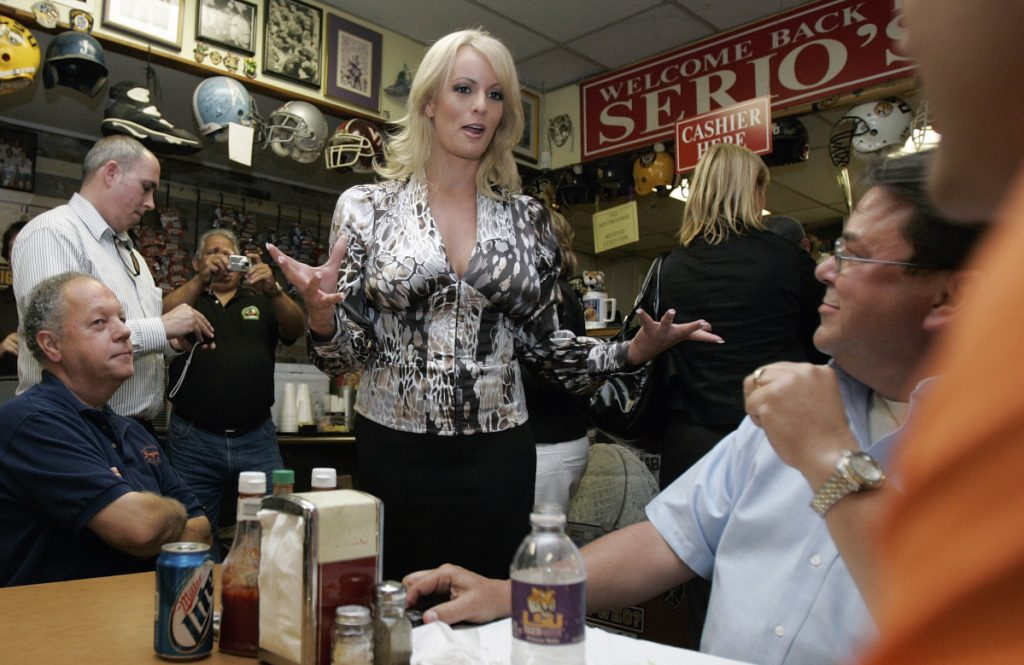 Photo shows Stephanie Clifford, who went by the name Stormy Daniels, visiting a local restaurant in downtown New Orleans in 2009. A tabloid magazine held back from publishing Daniels' 2011 account of an alleged affair with Donald Trump.