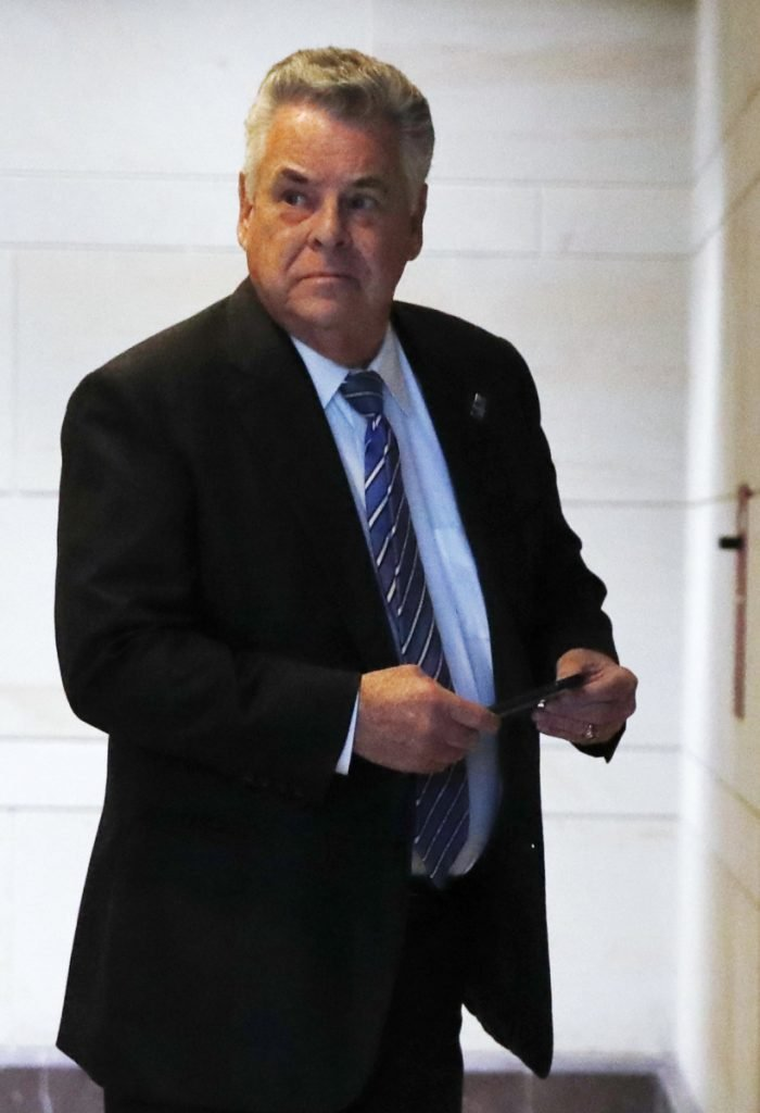 Rep. Peter King, R-N.Y., arrives for a House Intelligence Committee meeting last week on Capitol Hill. He revealed a report dealing with President Trump's surveillance allegations.