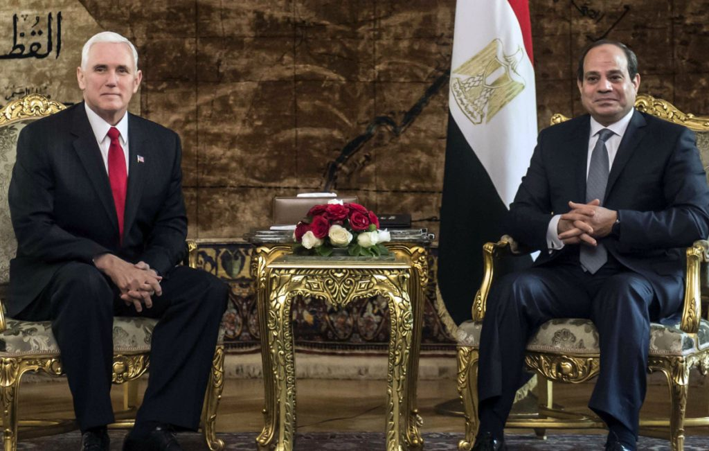 U.S. Vice President Mike Pence meets with Egyptian President Abdel-Fattah el-Sisi at the Presidential Palace in Cairo, Egypt, on Saturday.