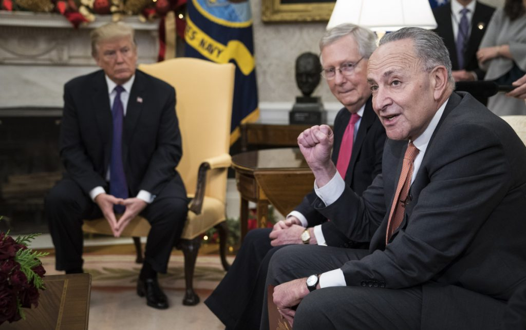 Both Senate Majority Leader Mitch McConnell, R-Ky., center, and Senate Minority Leader Charles Schumer, D-N.Y., right, have expressed frustration in recent weeks regarding negotiations with President Trump.