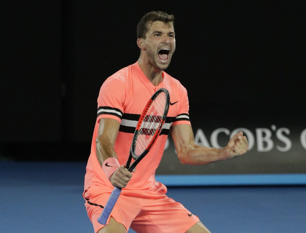 No. 3 seed Grigor Dimitrov celebrates after defeating Nick Kyrgios in four sets Sunday to reach the Australian Open quarterfinals.