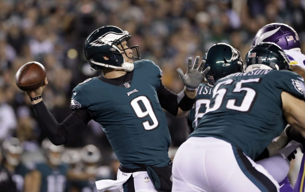 Philadelphia quarterback Nick Foles throws a pass in the first half of the Eagles' 38-7 win over the Vikings in the NFC championship game Sunday in Philadelphia.