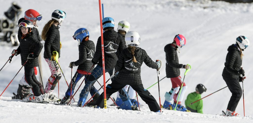 Skiers learn the slope Sunday before the Marlee Johnston Memorial Race to Remember at Kents Hill School in Readfield. The annual event is a fundraiser for the Joanne and Dick O'Connor Alpine Training Center in memory of Marlee Johnston.