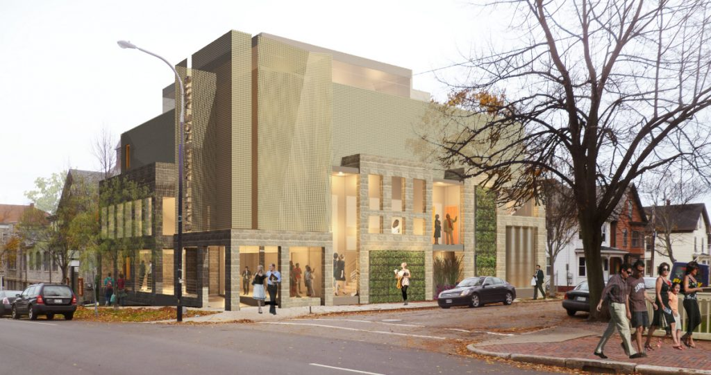 The original design of the proposed performance hall was not well-received by residents. This is the updated design for the project at the corner of Congress and Munjoy streets.
