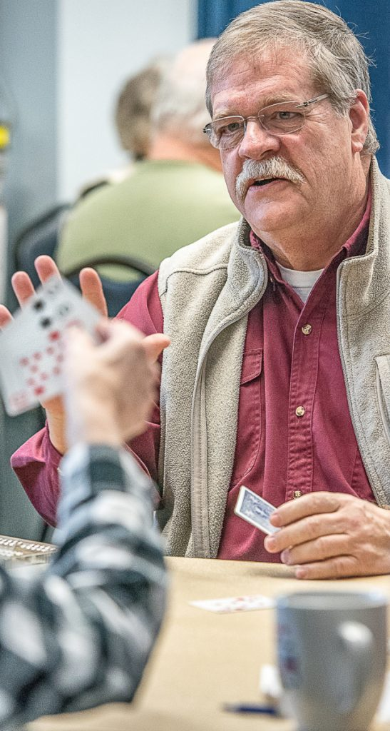 For many seniors who play cribbage every Thursday morning at the Lewiston Recreation Department, volunteer Roger Labbe is their ace in the hole.