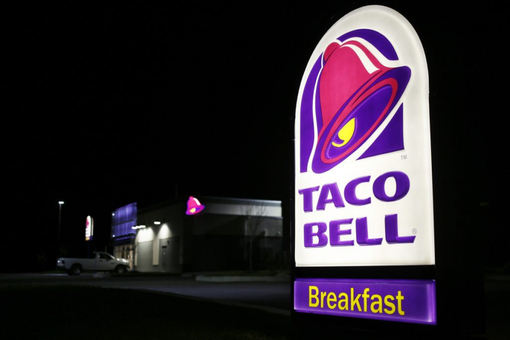 A Taco Bell sign outside a restaurant in Shelbyville, Kentucky. In Alabama, the fiery destruction of a 24-hour Taco Bell led to more than 100 Fire Sauce devotees attending a candelight vigil for the beloved late-night spot.