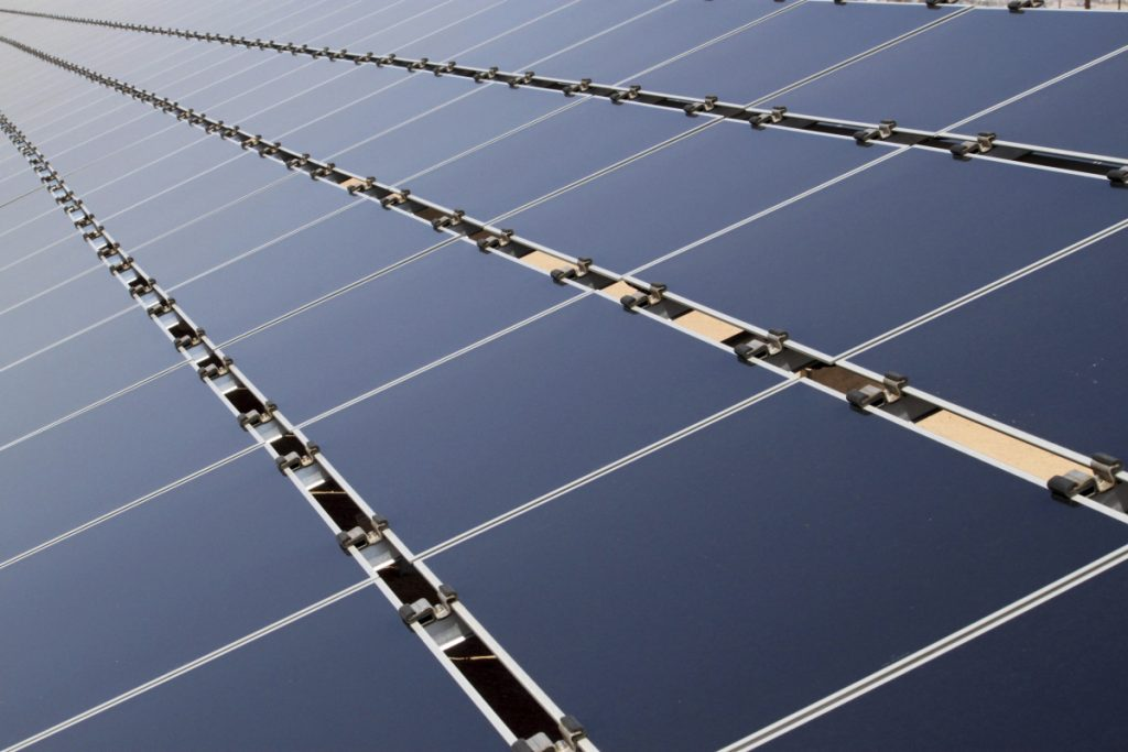 Some of the 30,000 solar panels that make up the Public Service Company of New Mexico's new 2-megawatt photovoltaic array in Albuquerque, N.M., are shown in 2011. The solar business in the U.S. has boomed in recent years, driven by falling prices for panels, thanks in part to cheap imports.