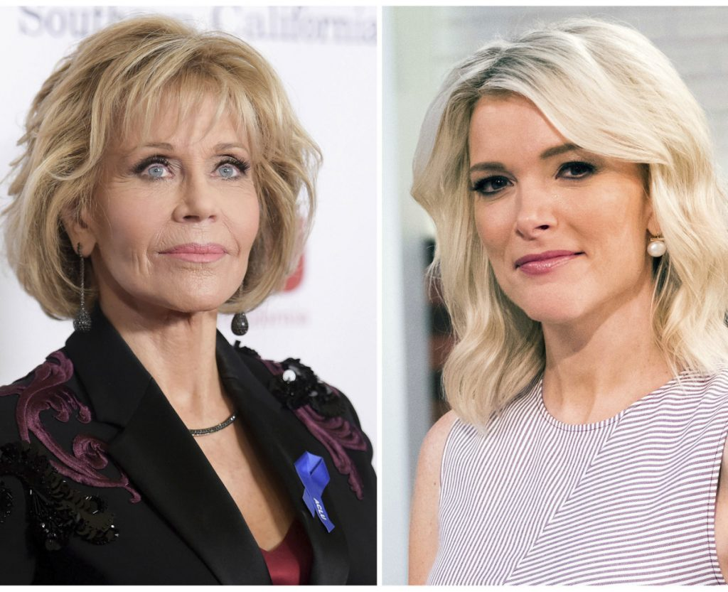 Jane Fonda, left, and Megyn Kelly are trading shots about an interview conducted last September on the
