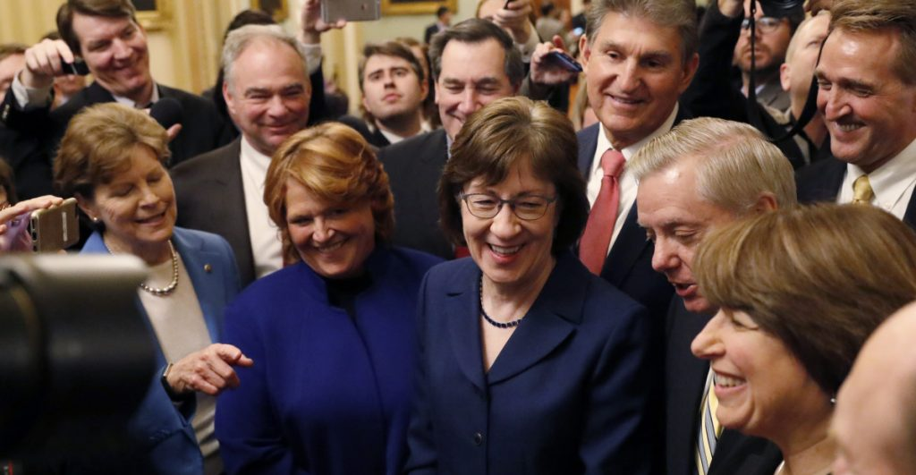 U.S. Sen. Susan Collins brought together a group of moderate colleagues that played a role in the resolution of the budget impasse.
